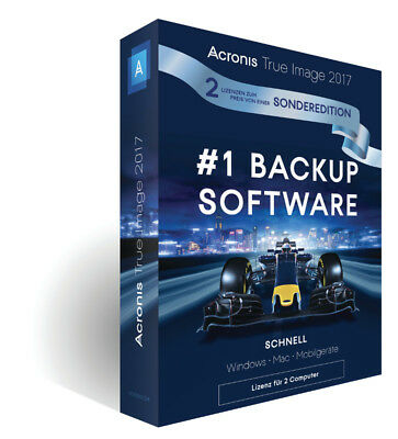Acronis True Image 2017, Sonderedition 1+1 (2 Geräte) Dauerlizenz, PC/Mac, Box