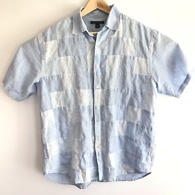 Banana Republic Mens Sz Large Chambray Patchwork Short Sleeve Shirt Linen Cotton