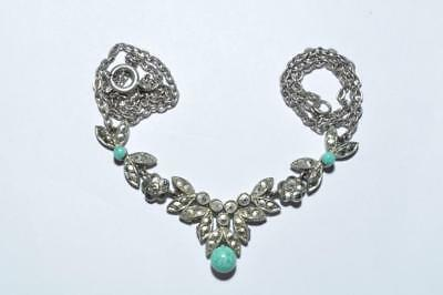 Classic Vintage Art Deco Necklace Set With Marcasite And Peking Glass