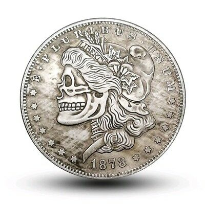LIBERTY SKULL Hobo Coin collectible skeleton carved style lady head dollar size