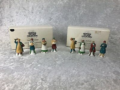 Dept 56 Heritage Dickens' Village SHOPKEEPERS & CITY PEOPLE - TWO Sets of 4