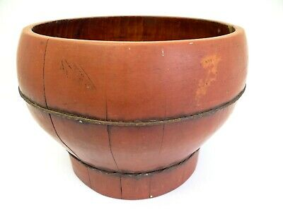 Antique Old Hand Painted Wood Red Chinese China Round Medium Sized Slated Bucket
