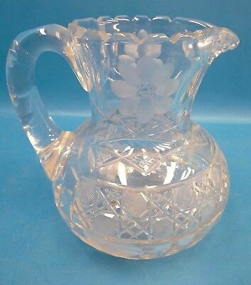 Vintage Used Flower Petal Etched Cut Glass Water Medium Sized Unbranded Pitcher