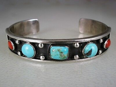 EARLY Tommy Singer NAVAJO STERLING SILVER & TURQUOISE RED CORAL ROW BRACELET