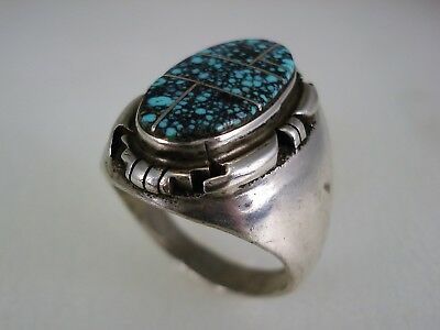 FABULOUS OLD NAVAJO STERLING SILVER & LANDER COUNTY BLUE TURQUOISE RING sz 11.5