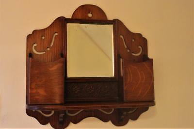A Golden Oak Wall Mounted Hall Tidy With Inset Mirror  Lovely Piece