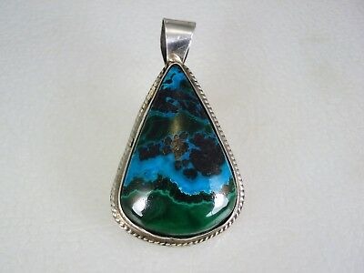 VINTAGE James Shay NAVAJO STERLING SILVER & AZURITE MALACHITE NECKLACE PENDANT