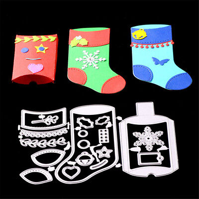 Delicate Xmas Gift Stocking Metal Cutting Dies Scrapbooking Photo Album Decor BX