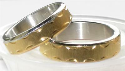 Sale Mens  Womens Stainless Steel 7Mm Wedding Ring Wedding Band Str140 Gold