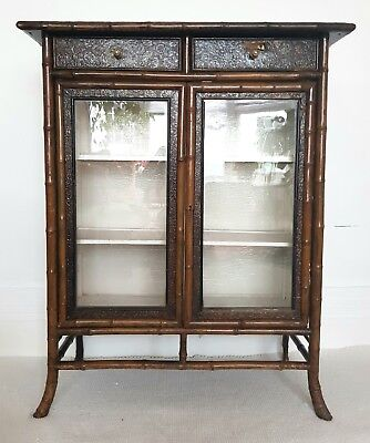 Victorian bamboo glazed bookcase with drawers, Chinoiserie cabinet, bohemian.