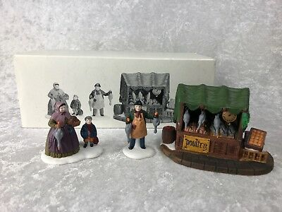 Dept 56 Dickens Village Series Poultry Market 3 Piece Accessory #55590