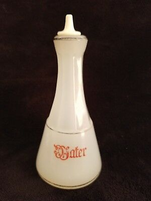 "Antique Moonstone Clambroth Barber ""Water""  RED Script Bottle Apothecary"