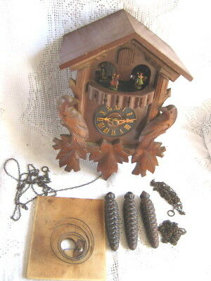 Twin Tune Musical Cuckoo Clock with Dancers West German Repair Project