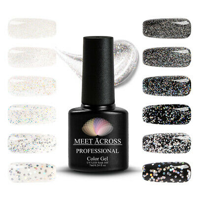 MEET ACROSS Gel Nail Polish Glitter Base Coat Laser Sequins Soak Off UV Varnish