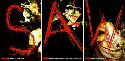Saw (2004) set of 3 original movie posters advance - single-sided - rolled