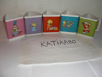 Rare Serie Complete 5 Mugs Triangle The Simpsons 2011 Tasse Quick Noel Omer Bart