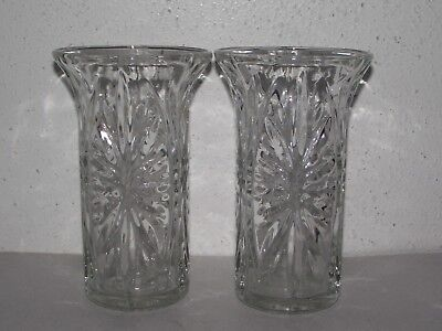"Vtg 2pc set clear cut glass floral 7"" tall taper candlestick candle holders ~Z"