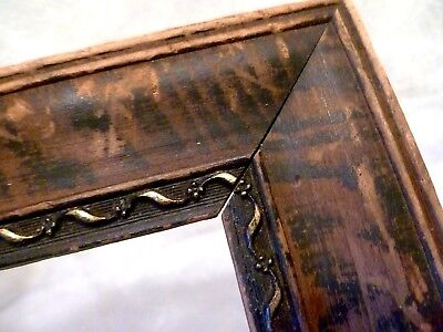 """7"""" X 12"""" Antique TIGER STRIPED Carved Wood PICTURE FRAME Arts & Crafts 10"""" X 15"""""""