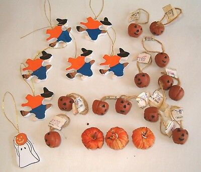 Lot of 22 Miniature HALLOWEEN Ornaments Decorations Pumpkin Witch Ghost NOS