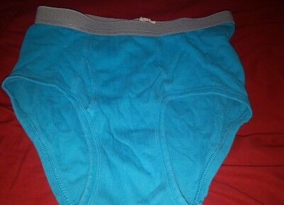 Vintage Fruit of the Loom Mens Briefs All Cotton Ribbed Turquoise Blue 30 32