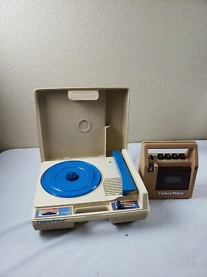 Vintage 1978 Fisher Price Blue Record Player Turntable #825 & #826 Tape Player