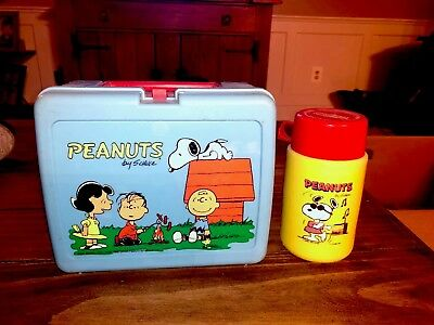 Rare Peanuts Snoopy Vintage Lunchbox With Thermos