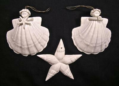 3 Vtg SIGNED Margaret Furlong Forever Star Trumpeter Angel Shell Xmas Ornaments