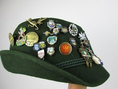 Vintage German Alpine Hiking Souvenir Hat With 29 Collectible Pins Feather