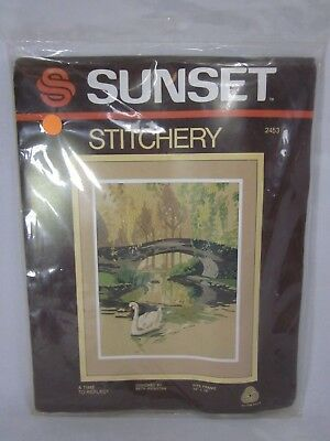 Sunset Stitchery A Time To Reflect Crewel Embroidery Kit #2453 Lake Swans