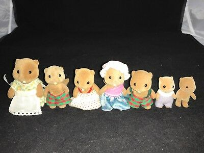 Calico Critters Sylvanian Families Original Waters Beavers Vintage 1989 lot of 7