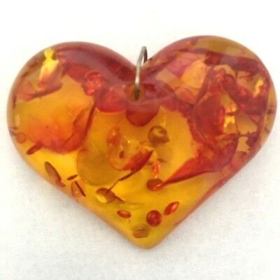 "Antique Amber Pendant Heart-Shaped Genuine Baltic Large 2"" x 1.5"" Necklace Ready"