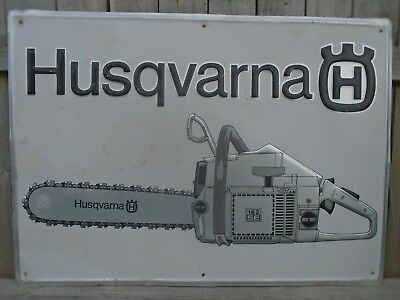 "VINTAGE 1970's HUSQVARNA CHAIN SAWS (20 X 28"" INCH) ALUMINUM SIGN"