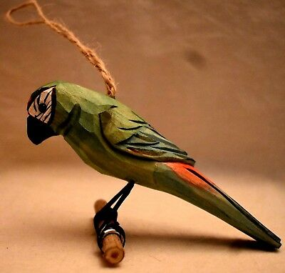 Hand carved Parrot on Perch wood hand painted wire legs 4.75 in long hang or sit