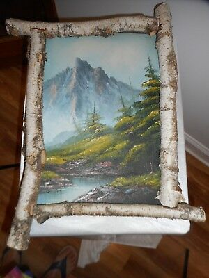 "Vintage Log Framed & Signed Landscape Oil Painting 16"" X 10"" - Wonderful & Rare!"