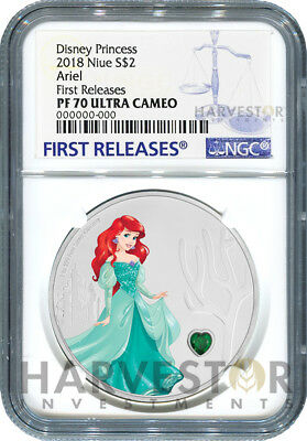 2018 Disney Princess With Gemstone - Ariel - Ngc Pf70 First Releases W/ogp - 3Rd