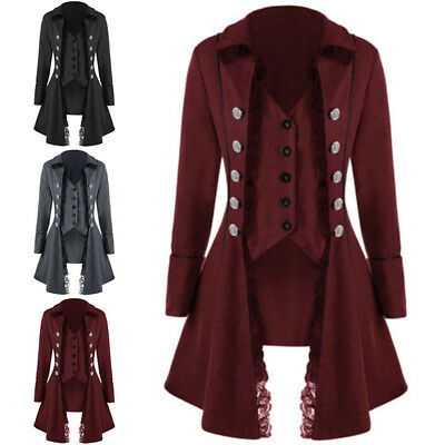 Overisized Womens Victorian Gothic Steampunk Coat Lace Trim Jacket Costume S-3XL