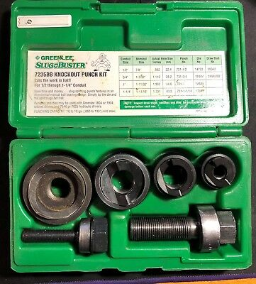 GREENLEE 735BB  Knockout Punch Kit, 1/2-Inch to 1-1/4-Inch Conduit Size USA