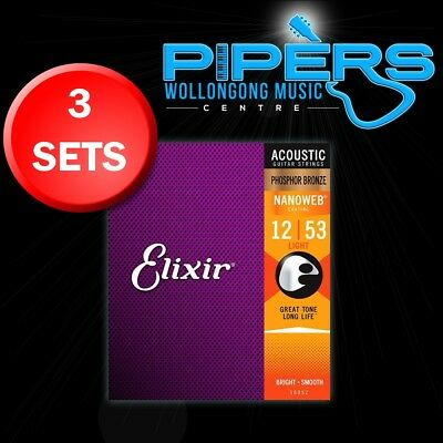 3-SETS Elixir 12-53 Light Nanoweb Phosphor Bronze Acoustic Guitar Strings 16052