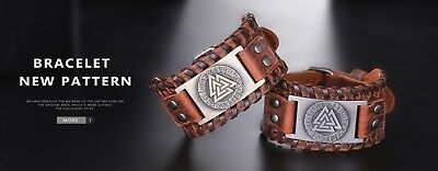 Nordic Viking Valknut and Norse Runes Wide Leather Bracelets for Men Metal Charm