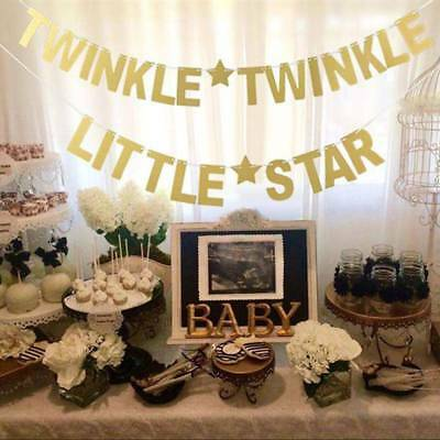 Party Decoration TWINKLE TWINKLE LITTLE STAR Gold Glitter Letters Banner