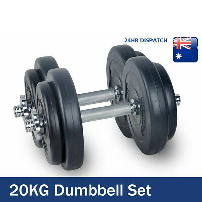 20KG Adjustable Dumbbell Set Dumbbells Plates Weight lifting Home Gym Strength