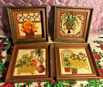 Lot of Four Vintage Embroidery House Plant Wall Decor Crewel Flowers Retro