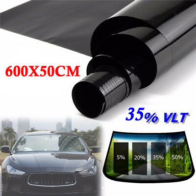 50cm*6M Black Glass Window Tint Shade Film VLT 35% Auto Car House Roll New