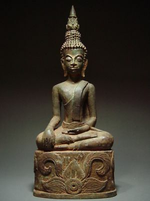 ANTIQUE BRONZE ENTHRONED LAO BUDDHA, SACRED TEMPLE RELIC. LAOTIAN ART 19/20th C.