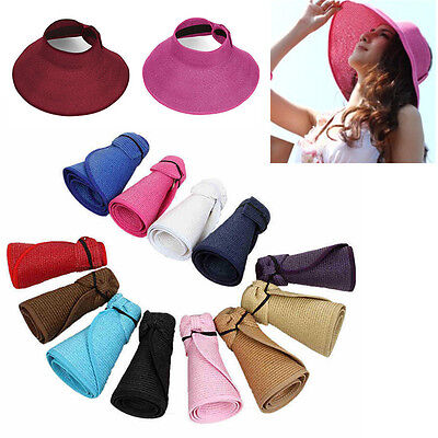 Womens Girl Foldable Wide Brim Sun Hat Roll Up Beach Travel Summer Straw Hat Cap
