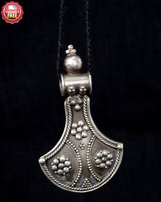 Vintage Old Style 92.5 Silver Art Beautiful Pendant Women's Gift. G10-18 AU