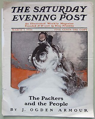 Antique Saturday Evening Post FRONT COVER STEAM TRAIN IN SNOW March 3, 1904 ORIG
