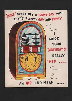 vintage Greeting HEPPY Birthday Card face on Junk Box That's Plenty Gay & Peppy