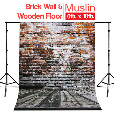 6 ft x 10 ft Photo Studio Brick Wall & Wooden Floor Backdrop Machine Washable