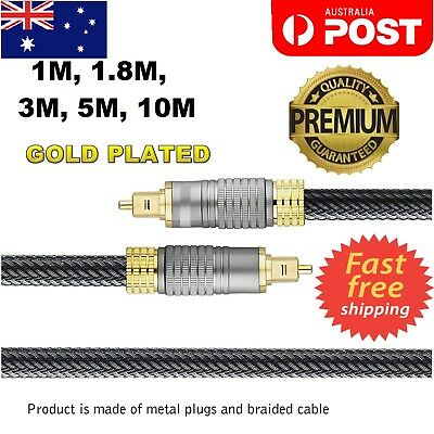 Ultra Premium Toslink Optical Fibre Cable Gold Plated 5.1 7.1 Digital HD Audio